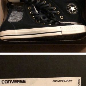 Converse hightops with fur lining